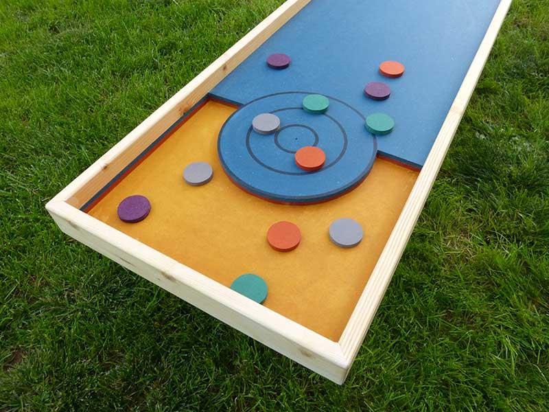 grand jeu en bois palet pétanque zoom sur cible but