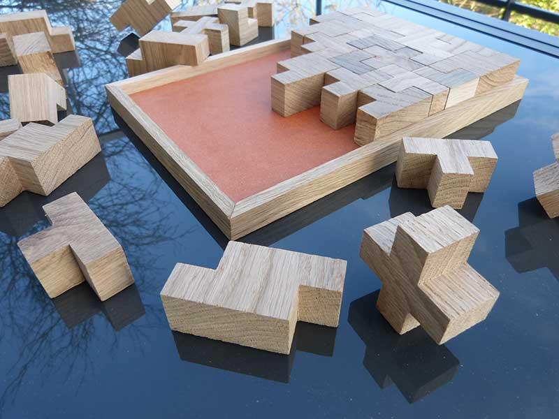 Tétris jeu casse-tête en bois massif chêne