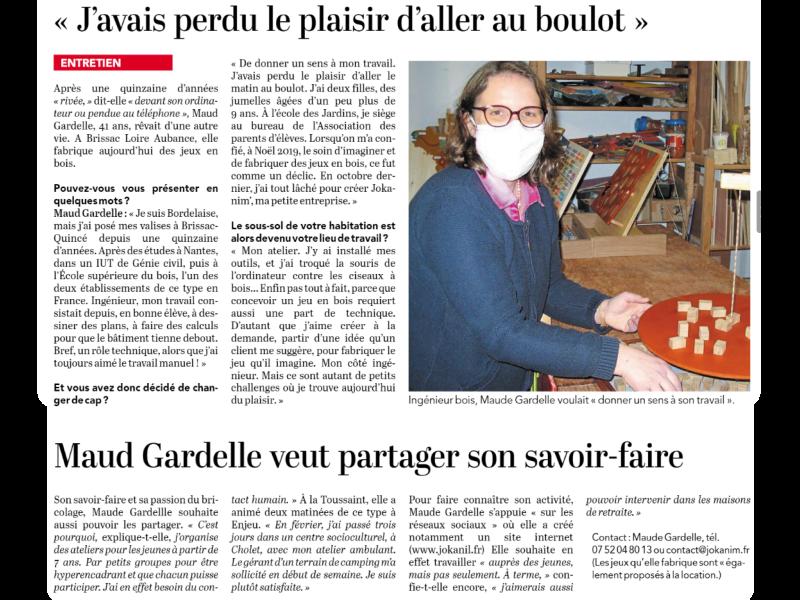 article reconversion professionnelle Maude Gardelle